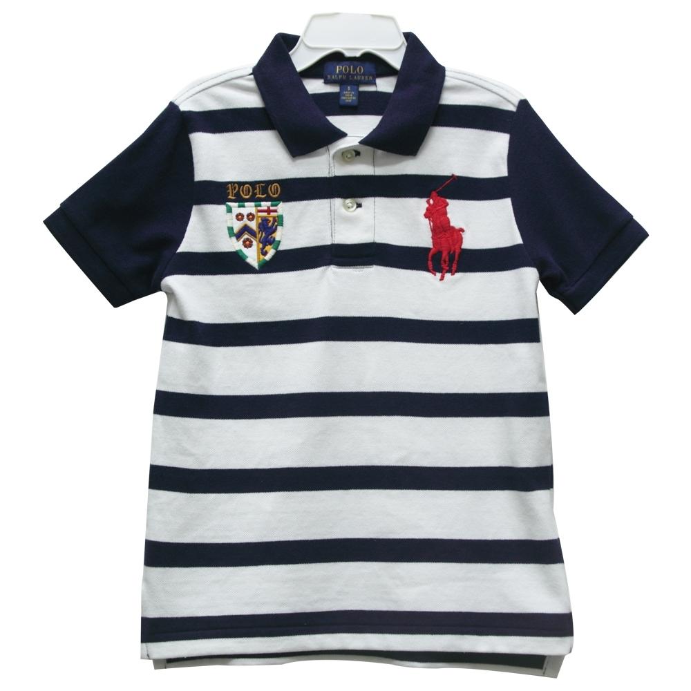 Ralph Lauren 男童徽章經典刺繡大馬短袖條紋POLO衫-白/藍(5歲)