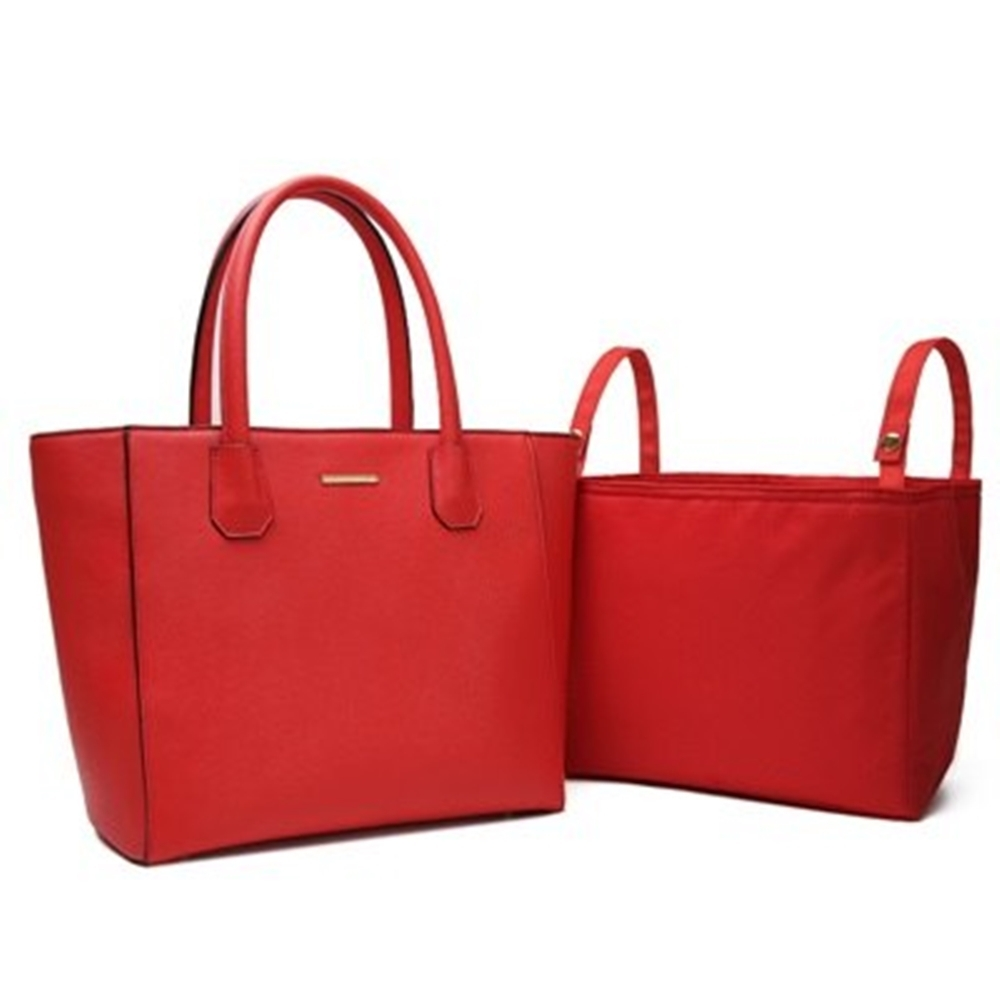 米蘭精品 手提包真皮肩背包-牛皮媽媽包純色時尚子母包情人節生日禮物2色73uq22