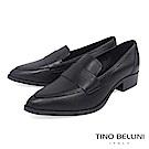 Tino Bellini 義大利進口簡約真皮尖楦低跟樂福鞋 _ 黑