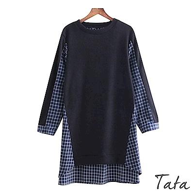 假兩件格紋拼接襯衫長版上衣 TATA