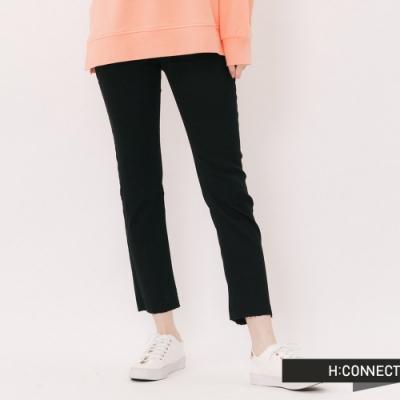 H:CONNECT 韓國品牌 女裝 -不收邊純色直筒褲-黑