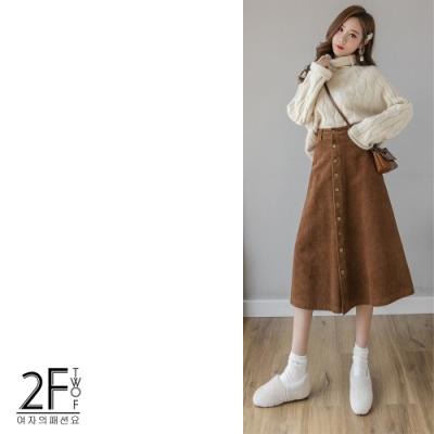 2F韓衣-燈芯絨排釦造型中長大擺裙-2色(S-XL)