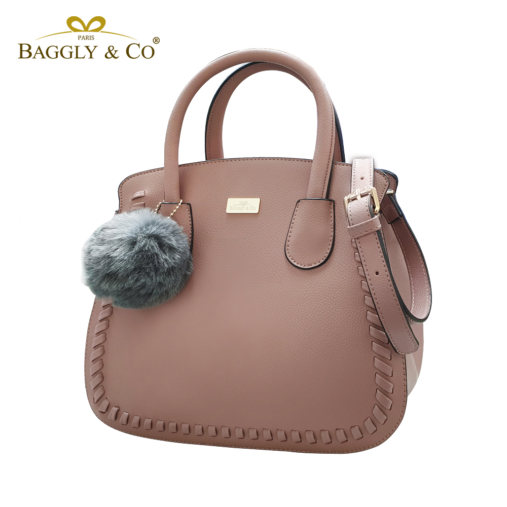法國BAGGLY&CO 真皮荔枝紋手工鎖縫馬鞍淑女手提側背包(三色)