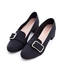 bellwink-皮革釦帶方頭高跟鞋-黑-b1015bk