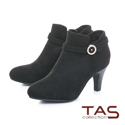 TAS素面絨布金屬圓扣繫帶高跟踝靴–經典黑