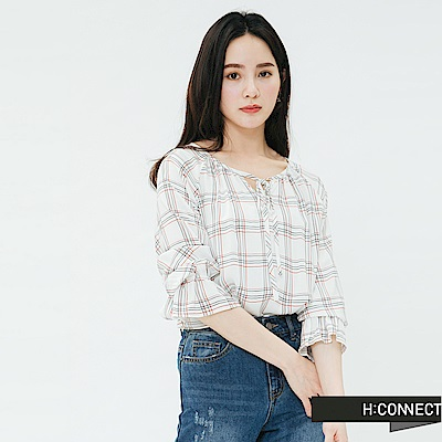 H:CONNECT 韓國品牌 女裝-綁結格紋造型上衣-白