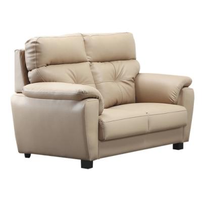 文創集 莎曼珊 現代舒柔透氣皮革二人座沙發-143x93x104cm免組