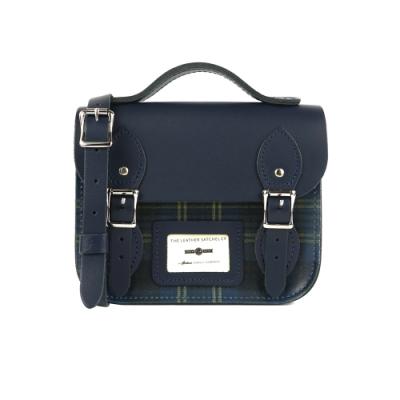 The Leather Satchel 英國手工牛皮限量款劍橋包 手提包 肩背 側背包 Blue Pattern 8.5吋