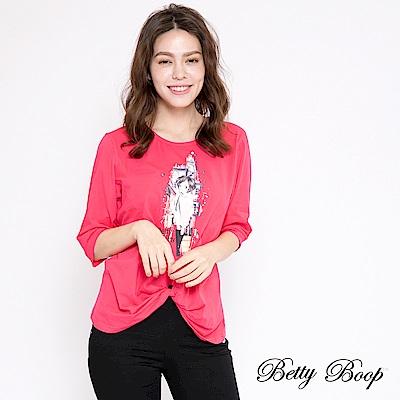 Betty Boop貝蒂 膠印扭結剪裁柔棉上衣(共兩色)
