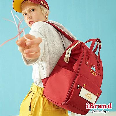 iBrand後背包 玩具工廠趣味插畫大開口後背包-紅色