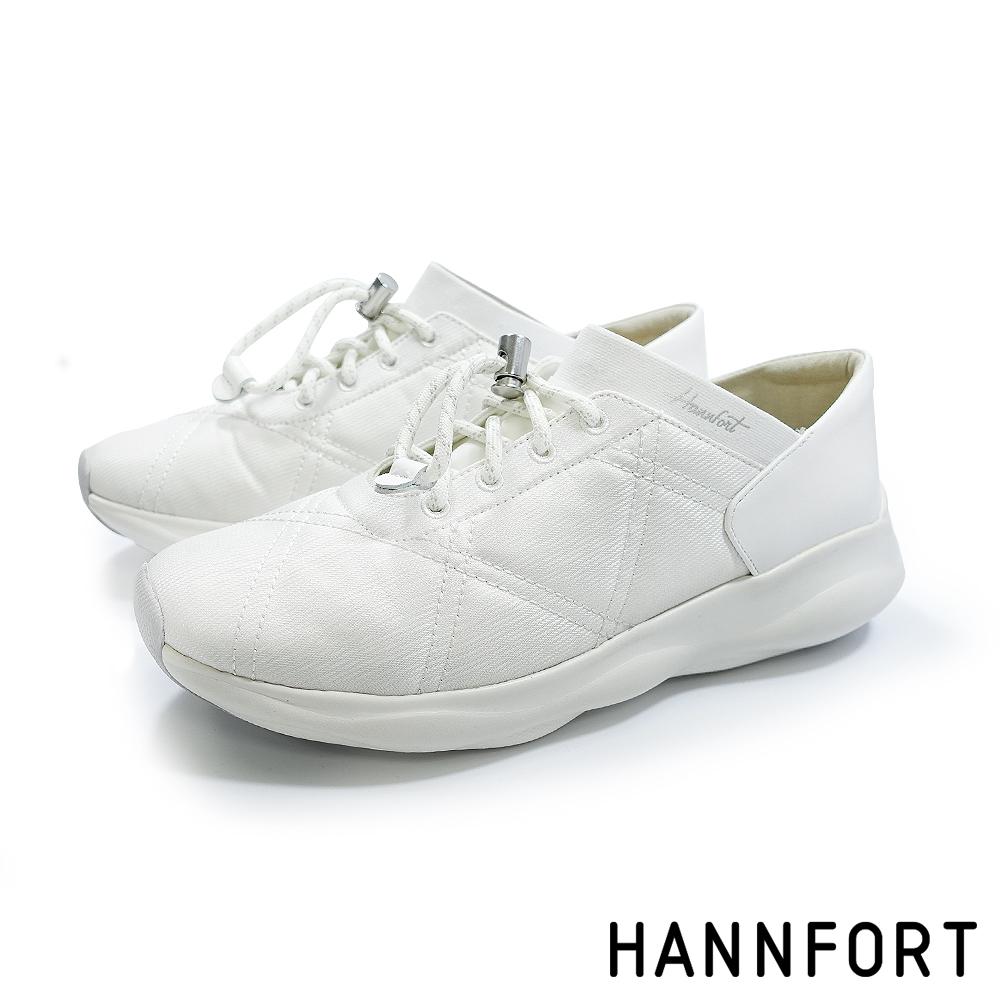 HANNFORT BUBBLES菱格衍縫跑鞋-女-酷炫白