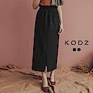 東京著衣-KODZ 質感穿搭立體坑條針織開衩中長裙-S.M.L(共二色)