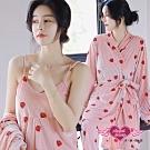 居家睡衣 草莓亮麗 三件式罩衫休閒睡衣組(粉F) AngelHoney天使霓裳