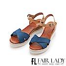 Fair Lady PORRONET 交叉寬帶草編厚底楔型涼鞋 藍
