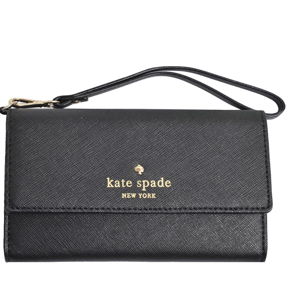 Kate spade 高質感防刮皮革 ACE LOGO 釦式多卡機能手機/手拿包(黑)
