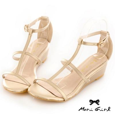 Mori girl鏤空線條楔型低跟涼鞋 淺金