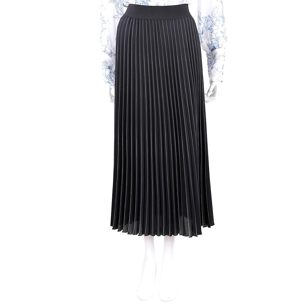 MARELLA 黑色雪紡紗金粉壓線百褶長裙