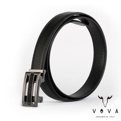 VOVA - 商務紳士時尚造型自動扣皮帶 - 鎢鋼色