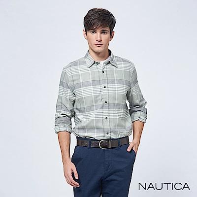 Nautica純棉修身細條格長袖襯衫-灰色