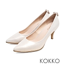 KOKKO - 幸福預兆蝴蝶結水鑽羊皮高跟鞋 - 星燦銀