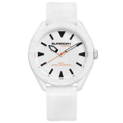 Superdry 極度乾燥 潮流品牌撞色日本機芯舒適矽膠手錶-白色/42mm