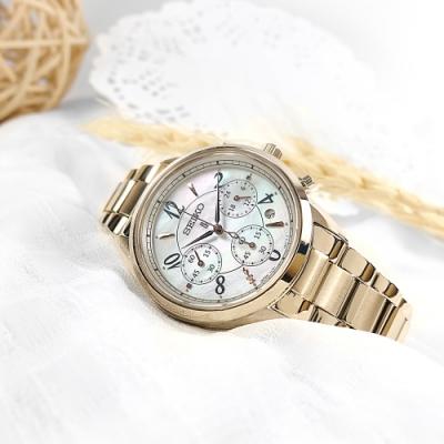 SEIKO 精工 LUKIA 太陽能 珍珠母貝 鑽石 不鏽鋼手錶-銀白x鍍香檳金/36mm