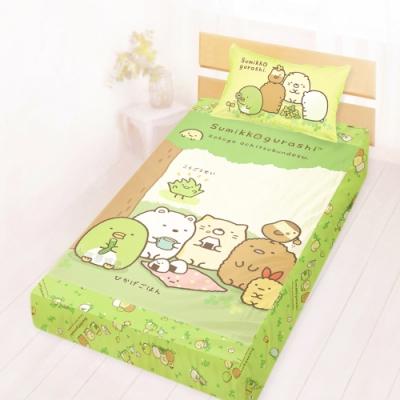 享夢城堡 單人床包枕套3.5x6.2二件組-角落小夥伴 樹下野餐日-綠
