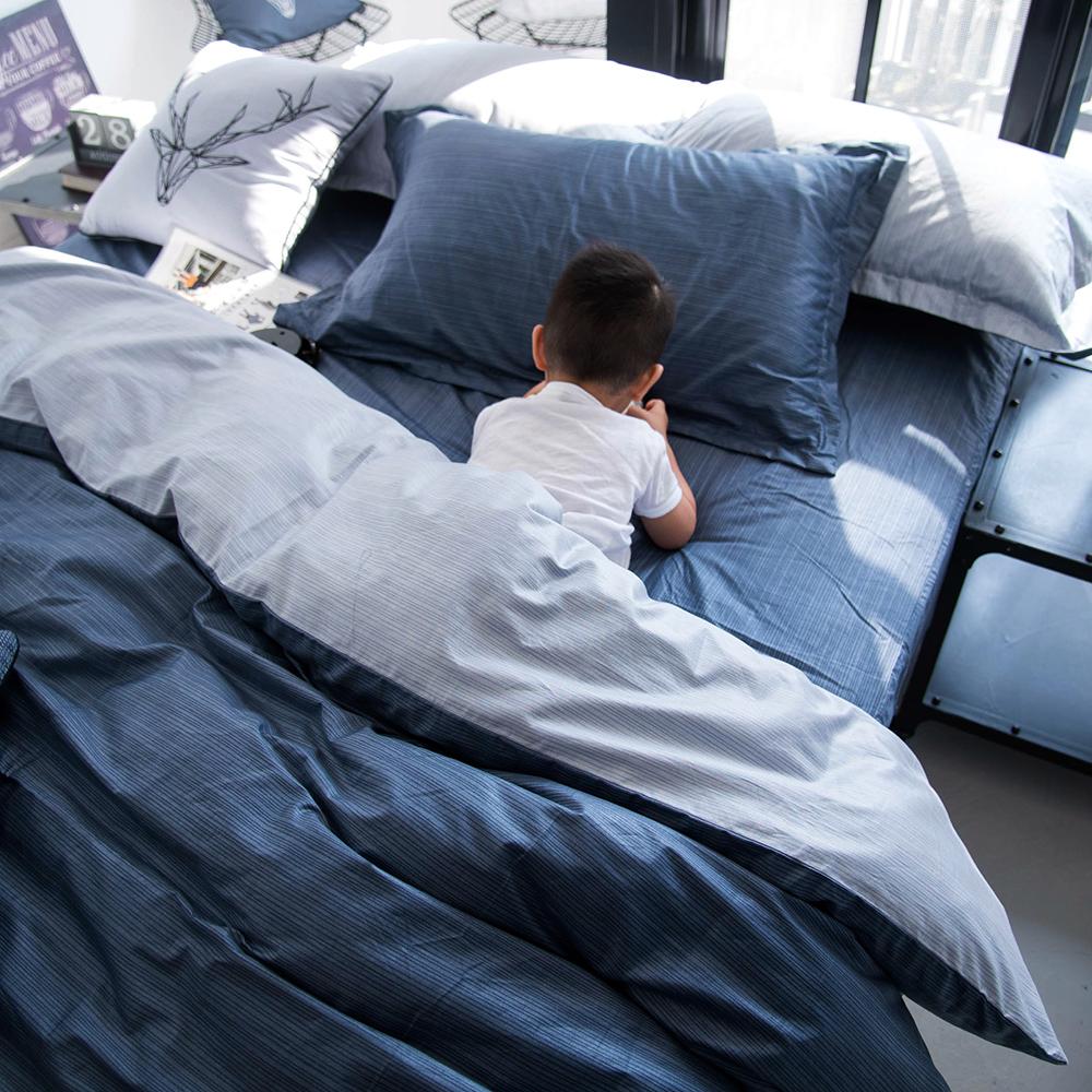 OLIVIA 諾亞 藍灰 標準雙人床包冬夏兩用被套四件組 200織精梳純棉 台灣製