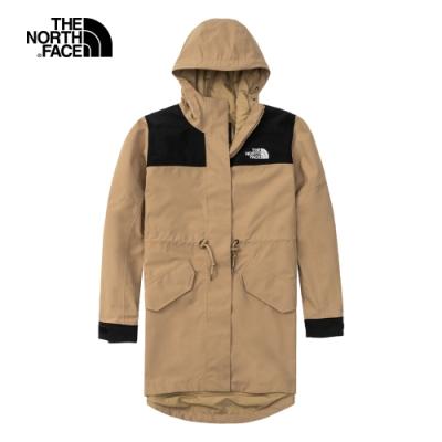 The North Face北面女款卡其色防水透氣連帽衝鋒衣|4U9OPLX