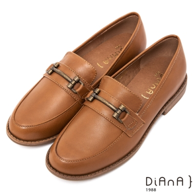 DIANA雙色質感牛皮馬銜釦低跟休閒樂福鞋 -經典學院風-棕