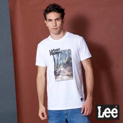 Lee 短T 戶外照片印花 圓領T 男款-白色