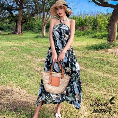 Mandy國際時尚 無袖洋裝 熱帶印花掛脖露肩沙灘連衣長裙