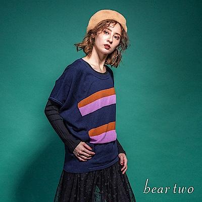 beartwo 繽紛條紋下襬不規則寬袖針織上衣(2色)