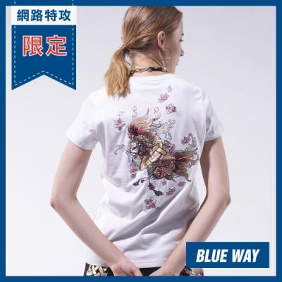 網路限定_日本藍 BLUE WAY-日本藍情人鎖短TEE(白)