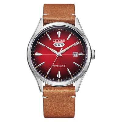 CITIZEN星辰 C7系列Mechanical小牛皮自動機械錶40.2mm紅棕色(NH8390-11X)