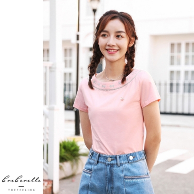 2F韓衣-韓系花卉刺繡鏤空點綴造型上衣-粉色(M-2XL)