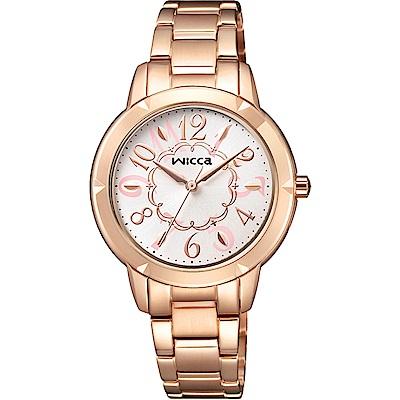 CITIZEN WICCA花漾時尚手錶(BT2-769-11)-白X玫瑰金/30mm