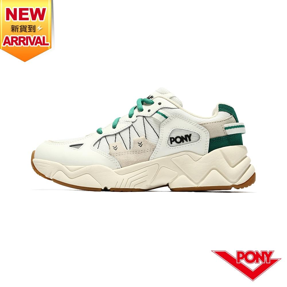 薔力推薦 買鞋送襪【PONY】MODERN 3 電光鞋 米底復古慢跑鞋 男鞋-白/綠