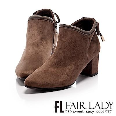 Fair Lady 尖頭絨布後蝴蝶結飾粗跟短靴 摩卡
