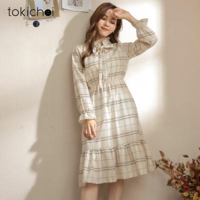 東京著衣 清新好感領綁結荷葉邊格紋洋裝(共二色)