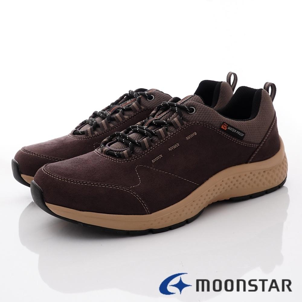 日本Moonstar戶外健走鞋 4E防水止滑系列 M1969咖皮(男段)