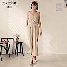 東京著衣 舒適優雅排釦連身褲-S.M(共二色)