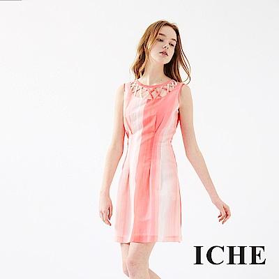ICHE 衣哲 鏤空漸層印花洋裝