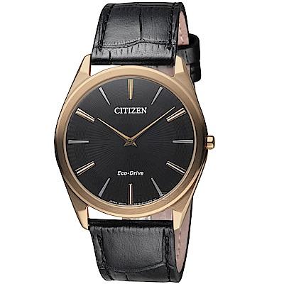 星辰 CITIZEN 低斂紋飾光動能超薄腕錶(AR3073-06E)-黑色
