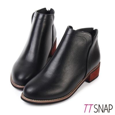 TTSNAP短靴-細緻微尖纖細後拉鍊中跟靴 黑