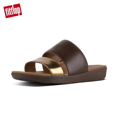 FitFlop DELTA SLIDE SANDALS 咖啡/鏡銅
