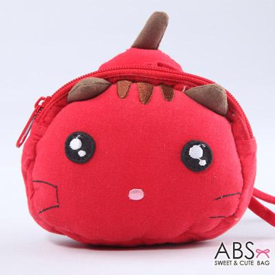 ABS貝斯貓 饅頭貓 可愛拼布拉鏈零錢包(活力紅)88-124