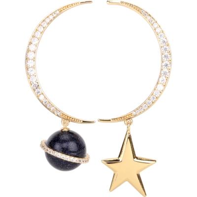 Kate Spade Rocks Asymmetrical 不對稱地球星星彎月鑲鑽金色穿針式耳環