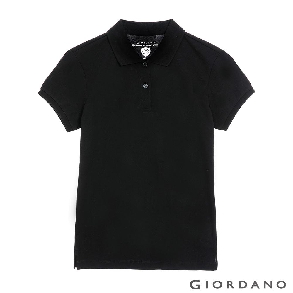 GIORDANO 女裝經典素色抗菌POLO衫 - 09 標誌黑