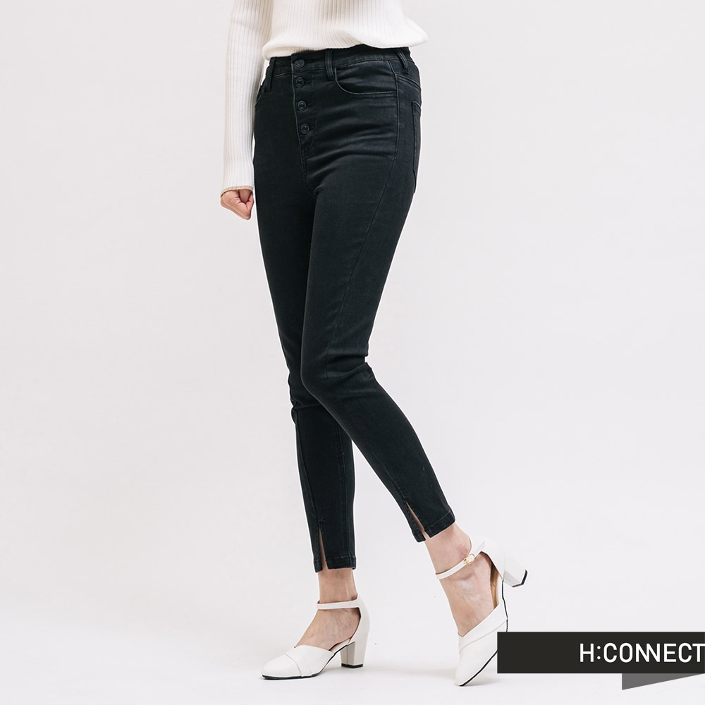 H:CONNECT 韓國品牌 女裝 - 高腰排扣開岔牛仔褲 - 黑
